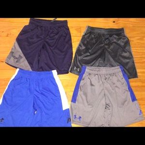 4 pair of Youth Small Dri-fit Under Armour shorts